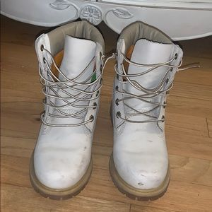 Off white colored timberland boots for women